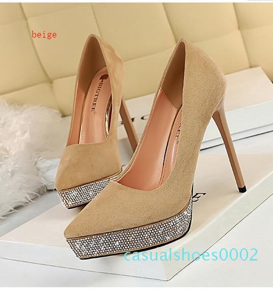 con la caja elegante de diamantes de imitación verde puntiagudos tacones de aguja bombas de tamaño las mujeres del diseñador de lujo zapatos de vestir vestido de gala forman los zapatos de 34 a 40 c02