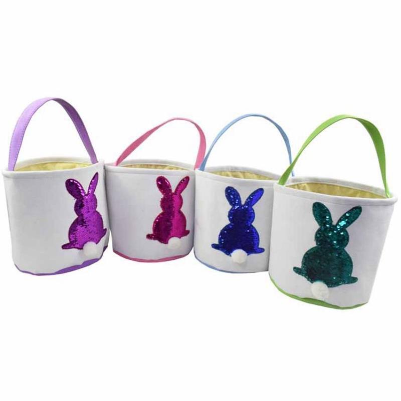 Блестки Easter Basket Холст Кролик Ведра Кролика конфеты сумка Пасхальное яйцо хранения корзины Monogram подарочные пакеты 4 цвета DW4920