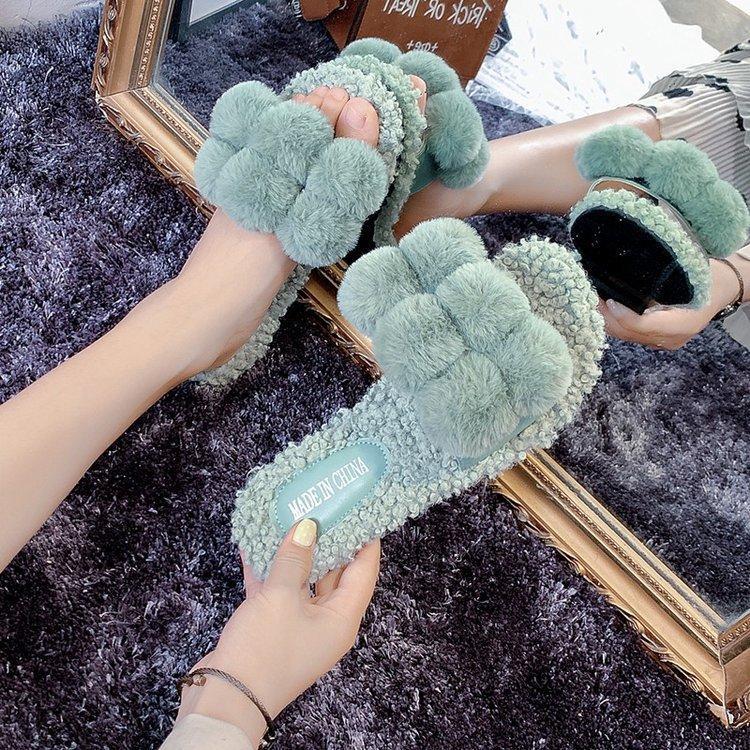 2019 bola de la piel de felpa zapatillas nuevas ultra-chic corderos de bolas personalidad de piel de lana de Corea de desgaste exterior zapatillas de punta abierta al por mayor