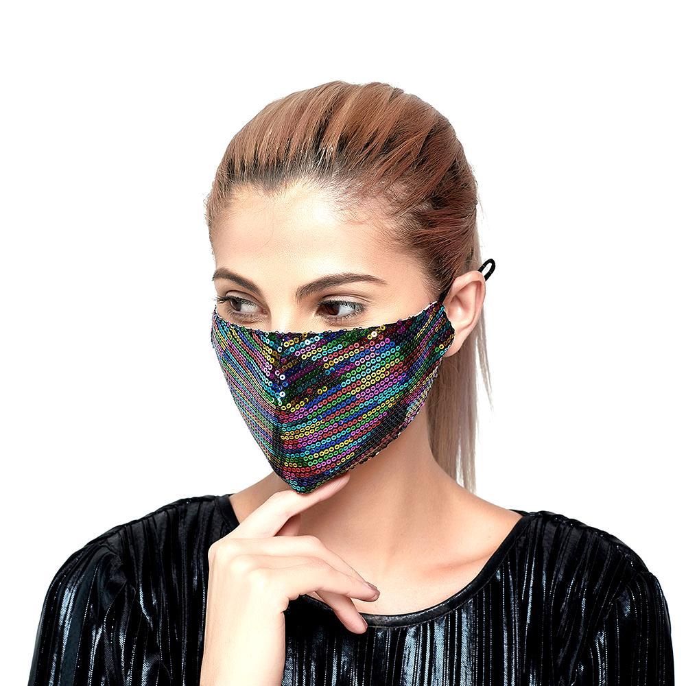 mascarillas diseñador mascarilla de lentejuelas de la moda adulto con máscara de diamante brillante decoración delgada máscara de filtro del verano femenino de la protección solar