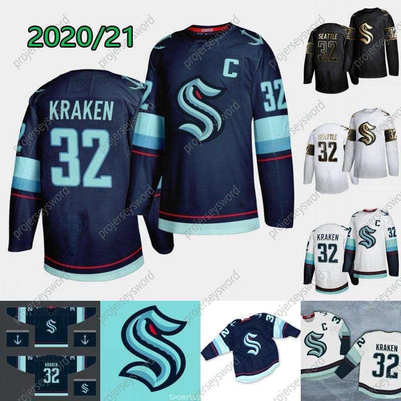 2021 시애틀 Kraken Ice Hockey Jersey 32 New Team 맞춤형 남성 여성 청소년 홈 도로 모든 이름 모든 이름 모든 스티치 하키 유니폼