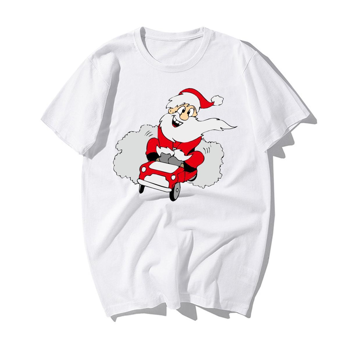 Mode Cartoon Père Noël driveing voiture coton Imprimer T-shirts Joyeux Noël T-shirts Hommes Casual Bonne année Noël T-shirts