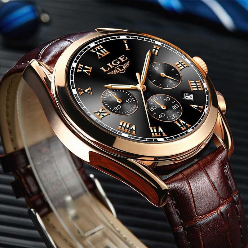 Lige Mens Guarda l'orologio da quarzo impermeabile per uomo di moda da uomo per gli uomini orologio in pelle casual Relogio Masculino