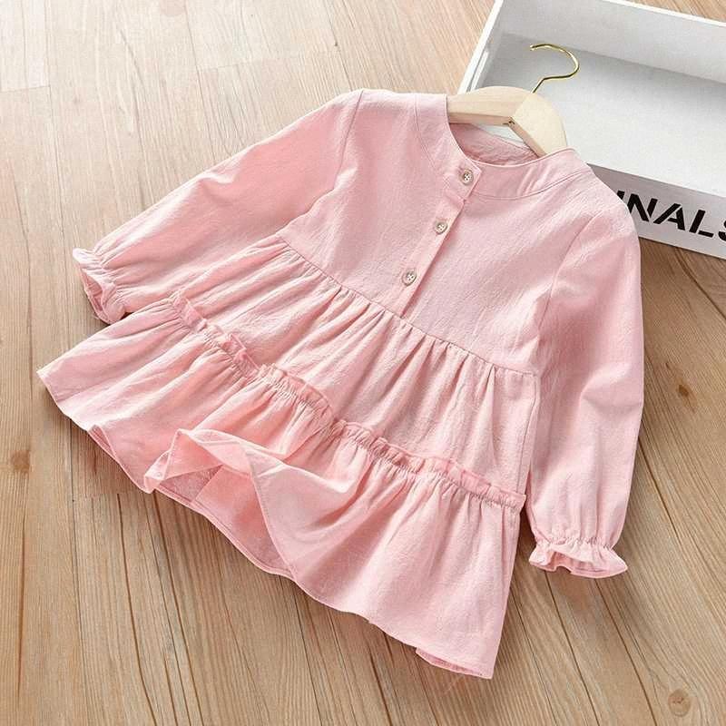 Manga comprida Primavera Outono meninas Blusas Tops Cotton Botão Casual Shirts Girl Dress Crianças shirt para miúdos Roupa Roupa WI30 #