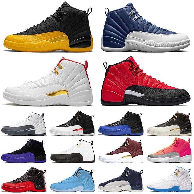 En Moda 2020 Basketbol Ayakkabı 12 Yeni Üniversite Altın Taş Mavi FIBA Erkekler Jumpman Koyu concor GRİP OYUN Tasarımcı Spor Ayakkabı