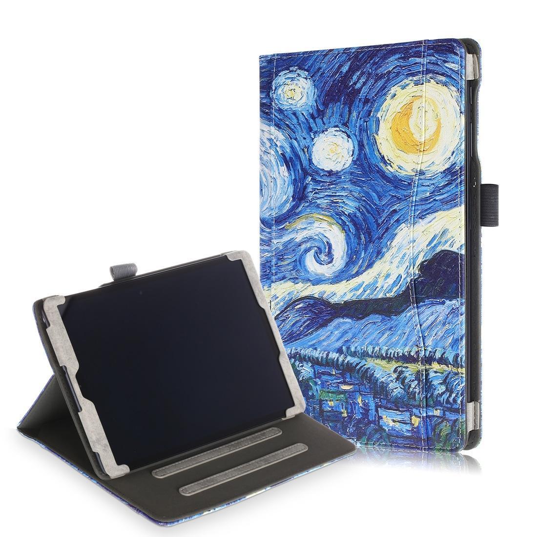 Texture de peau de vache Starry Sky motif coloré dessin Retournement horizontal en cuir pour Galaxy Tab 10,1 T510 / T515, avec support