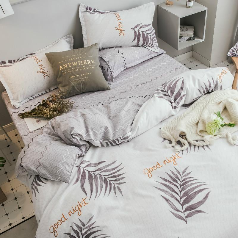 Juego de cama Plantas Textiles para el hogar funda nórdica hoja de cama de lino suave cómodo 3 / 4pcs Rey reina completa de doble tamaño de almohada