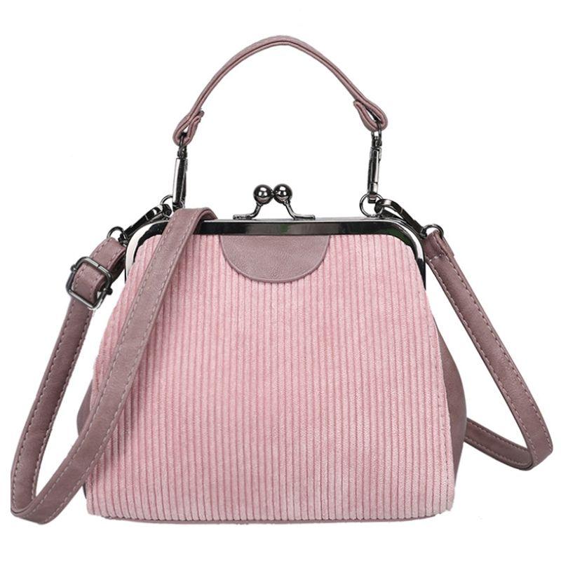 Striped Corduroy Women Messenger Bags Retro Shell Handbag Small Shoulder Bag Tote Small Clutch Handbags