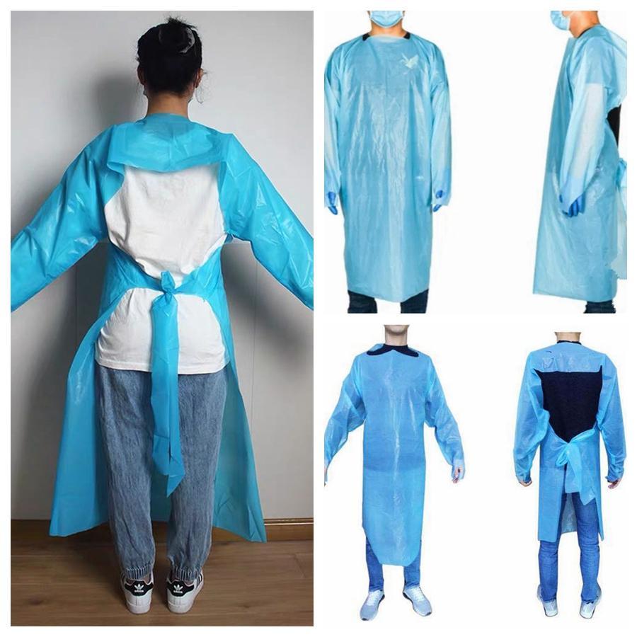 CPE 보호 복 일회용 절연 가운 의류 안티 먼지 야외 보호 복 일회용 비옷 RRA3382 정장