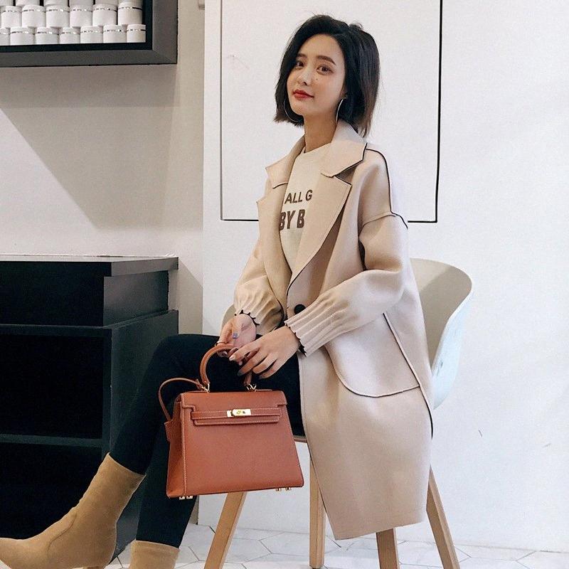 Office Lady Lungo Cappotto singolo tasto misto lana del cappotto e la giacca girano-giù le donne delle tasche cappotti Autunno Inverno SxRQ #