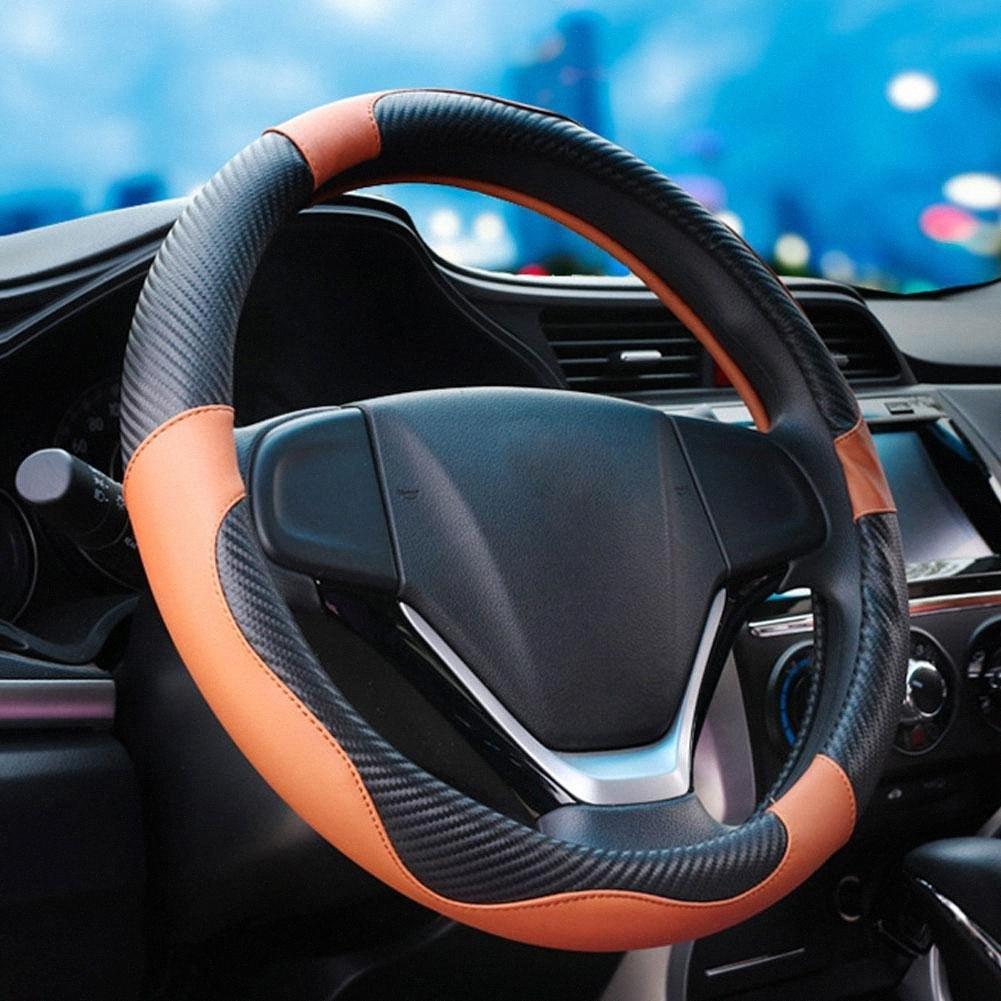 Araç Direksiyon Kapak 3D Kayma Önleyici Tekerlek Oto Dekorasyon Karbon Elyaf Çıta Rastgele Renk 9jek #