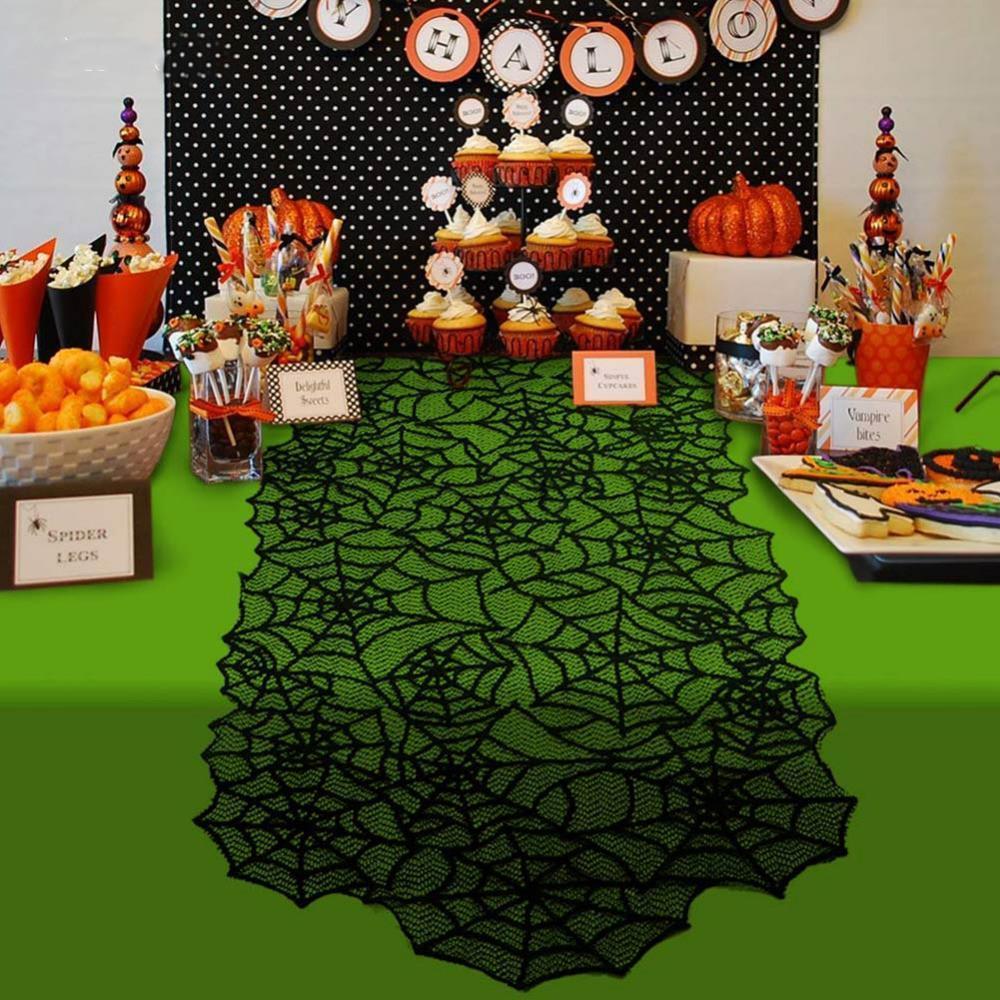 Decoração Party Favor Halloween Black Lace Spiderweb Lareira Manto Cachecol pano de tabela Horror Halloween Party Props