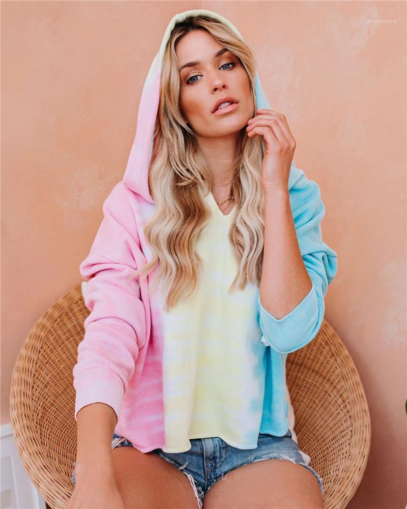 Top manches longues Casual vrac femmes Designer Hoodies Pull Streetwear Automne Printemps Femme Sweat-shirt Tie Dye Femmes Sweats à capuche capuche courte