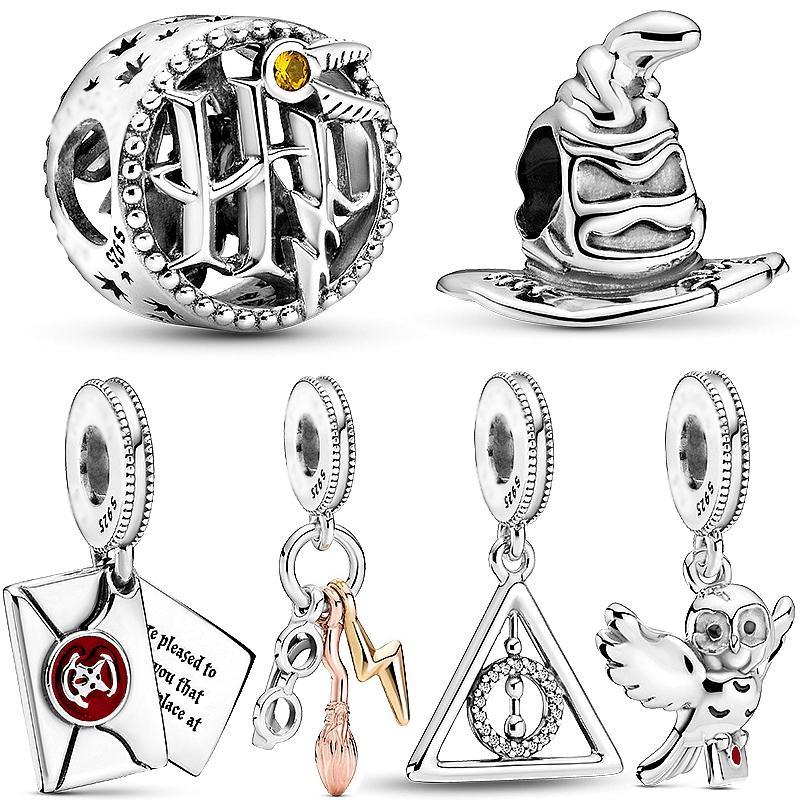 100% 925 Sterling Silber harry hedwig Eule Charme Deathly Hallows baumeln Perlen passen Pandora Armband Frau Schmuck Anhänger