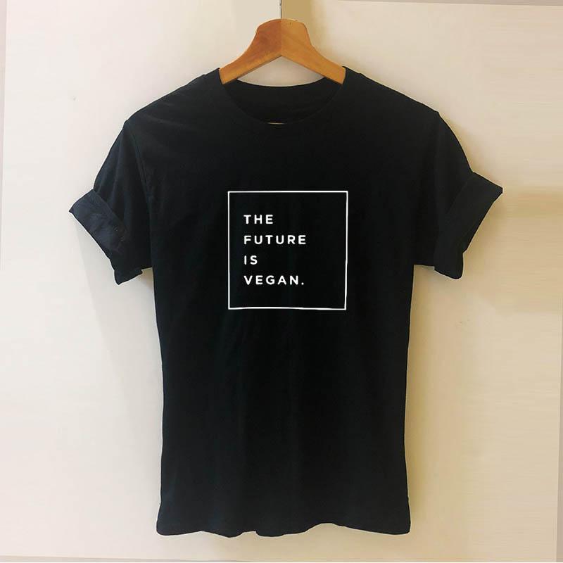 El futuro es vegano Vegetariana Impreso humorística camiseta más nueva del patrón Teeshirt mujeres Streetwear Hiphop Tops Dropshipping