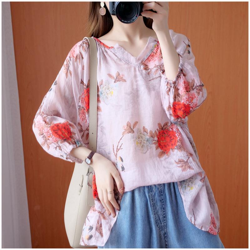 QPFJQD 2020 Flower Retro Verão Imprimir Plus Size Womens Praia capuz e blusas Casual V-neck meia manga solta Camisas Tops