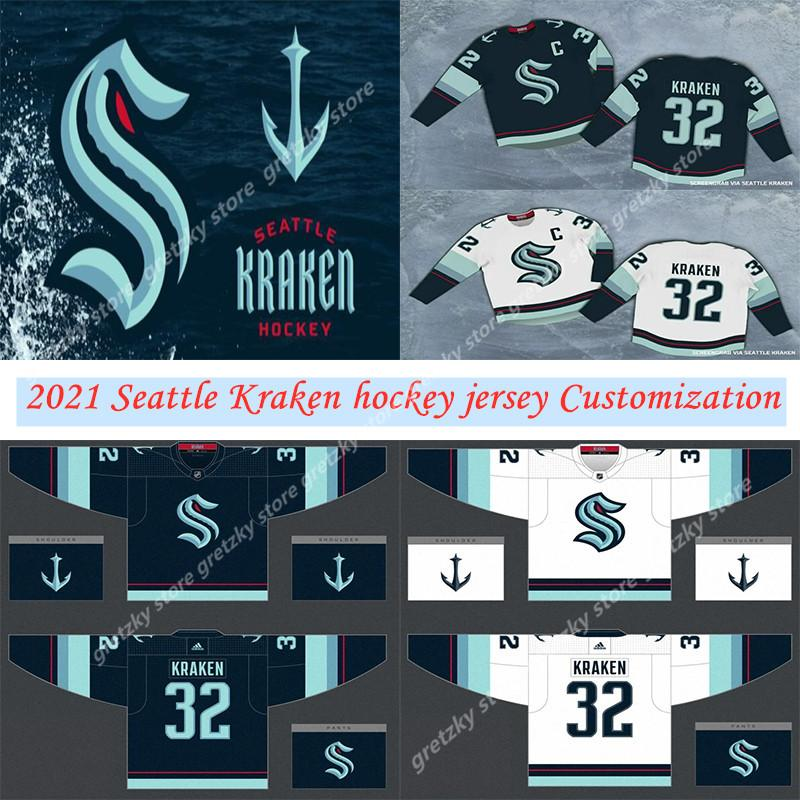 Seattle Kraken New Jersey équipe de hockey Maillots 2021 Saison Hommes 32 Kraken 21 Kraken 22 Jack Flaherty Tout Nom Numéro Tout Cousu Maillots
