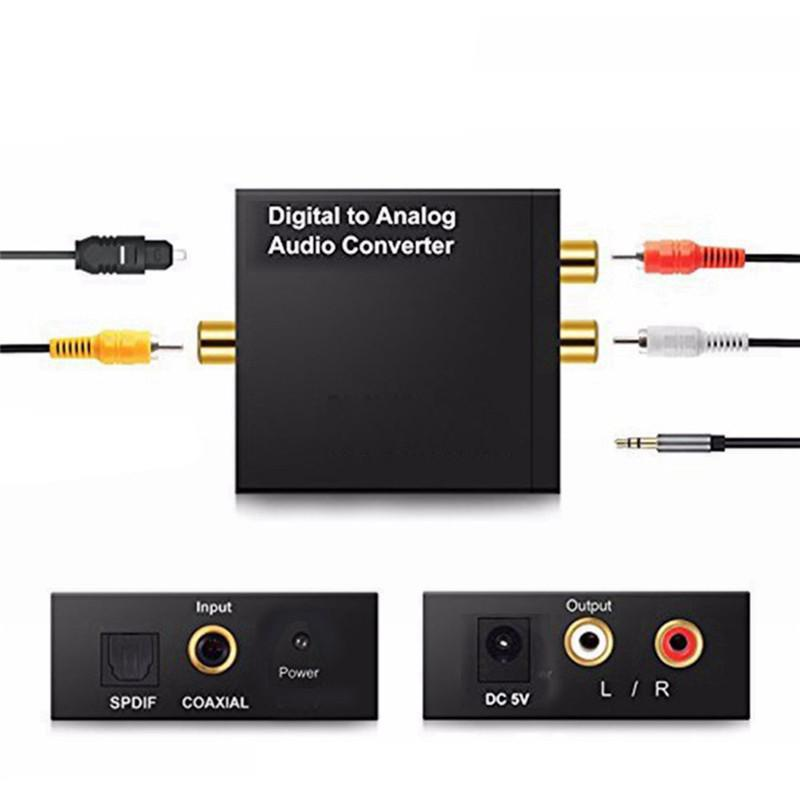 Digital-Analog-Audio Converter 3,5 mm Klinke 2 * RCA Verstärker Decoder Optical Fiber Coaxial Signal-Analog-DAC SPDIF Stereo