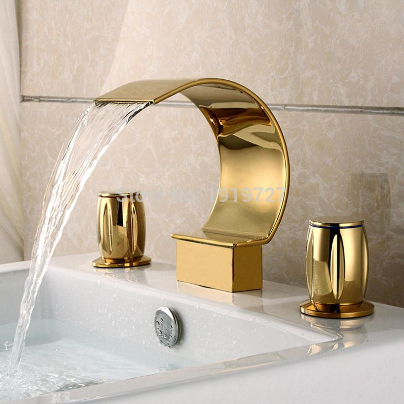 Factory Direct Luxurious Widespread 3 Hole Waterfall Basin Faucet Gold Finish Bathroom Sink Mixer Tap