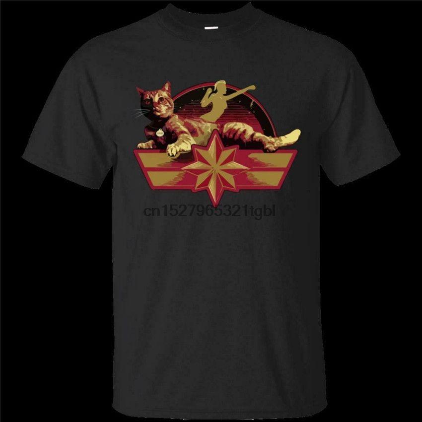 Capitán símbolo de la estrella y el ganso El Negro camiseta del gato de tamaño S-3XL El envío gratuito Camiseta