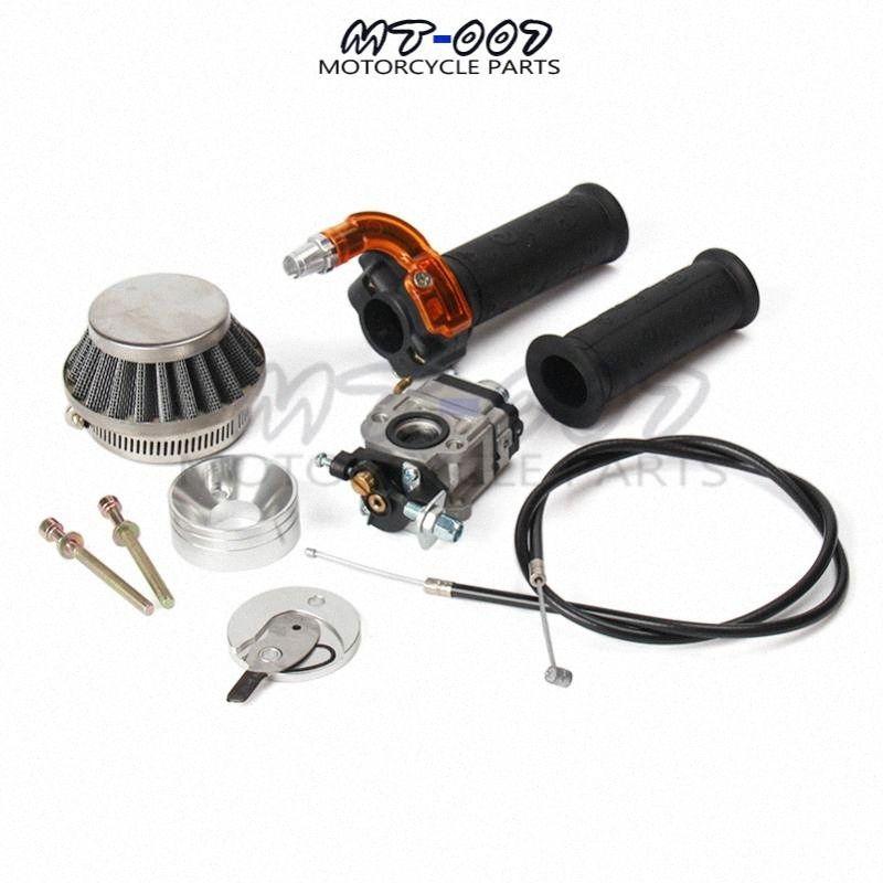 Carburateur Carb Filtre à air Stack Twist accélérateur d'accélérateur Grip + Câble Pour 47cc 49cc Mini Moto VTT Pocket Bike Moto Nka4 #