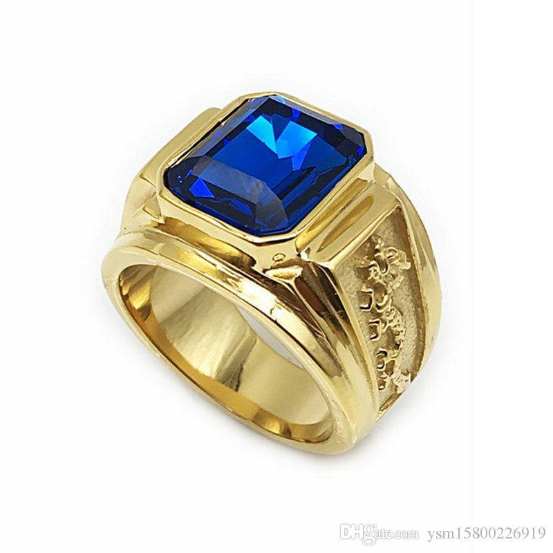 Art und Weise Retro Gold Dragon Totem-Edelstahl-Ringe für Männer blau Strass Ringe US-Größe 7 # -12 # R-029-B