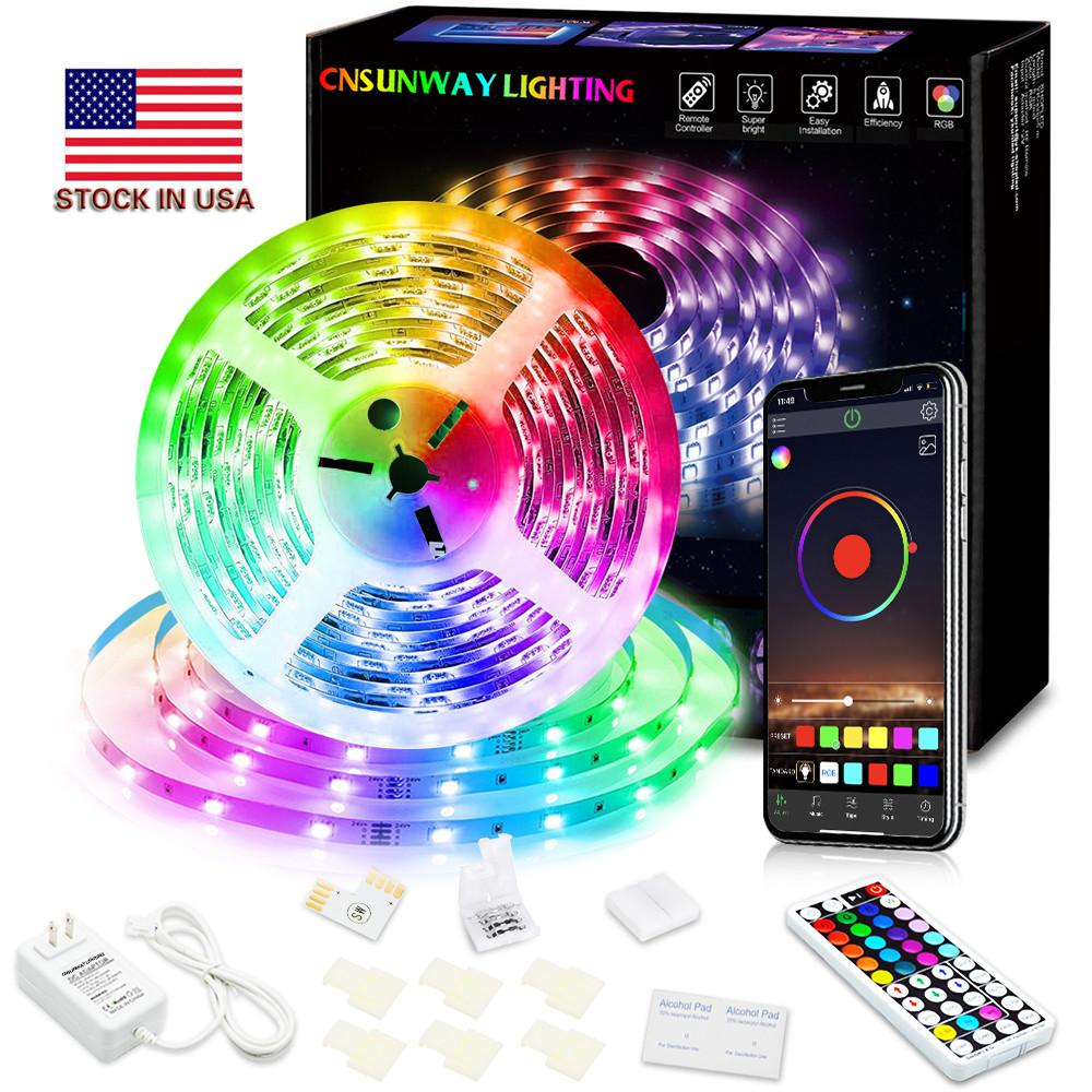 Us stocks + RGB LED Strip Light SMD5050 5M 10M 15M 20M 44Key RF Remote Controller Wifi RGB LED Strip Light Bluetooth led strip
