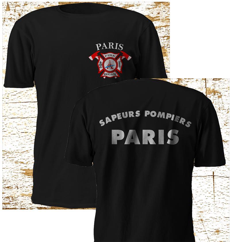 Yeni Paris sapeurs pompiers İtfaiyeci İtfaiye Siyah Tişört S-5XL Tee Gömlek Kişiselleştirilmiş