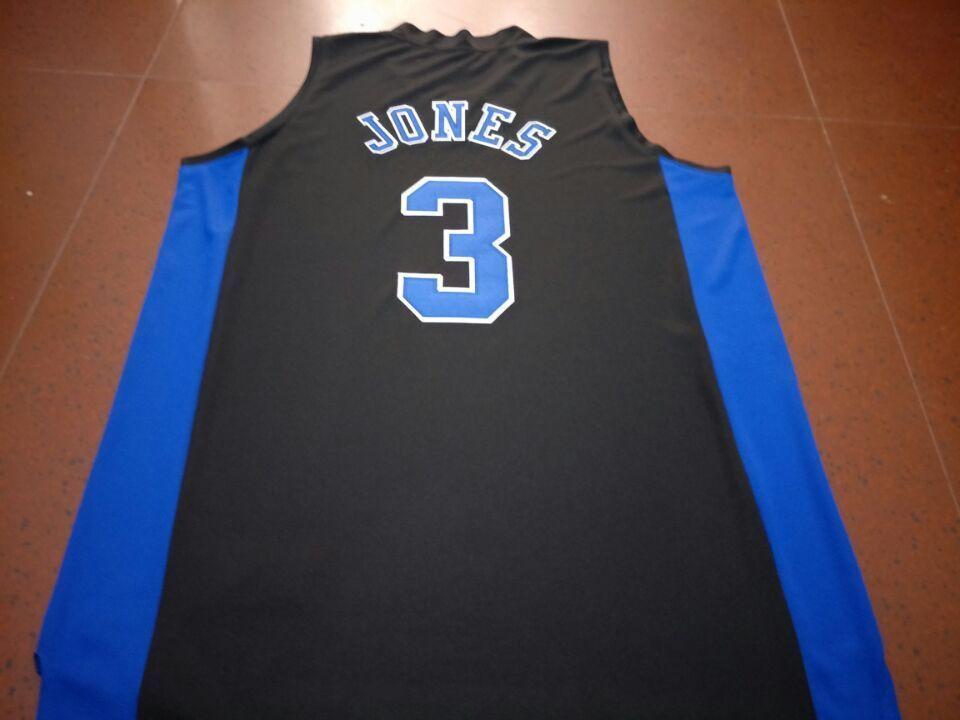 Rare Duke Blue Devil # 3 Tre Jones basket nero ricamo Size Jersey BIANCO NERO REALE completa S-4XL o personalizzato qualsiasi nome o numero di maglia