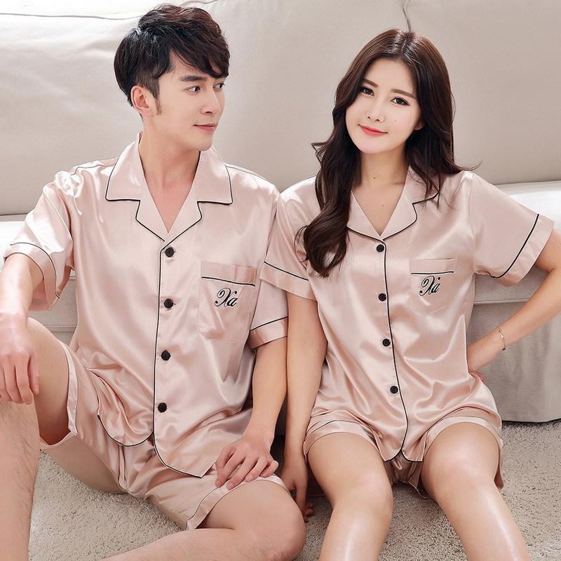 i1eIB soie wo pyjama deux pyjamas été Imitation hommes style coréen de soie à manches courtes et cardigan lâche femmes col V costume maison