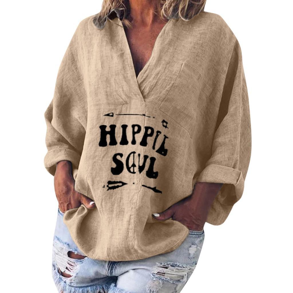 JAYCOSIN Female Bluse Frauen langärmliges Baumwollbeutel Leinen Kaftan Baggy Bluse T-Shirt übersteigt Blusen-Dame-Mädchen