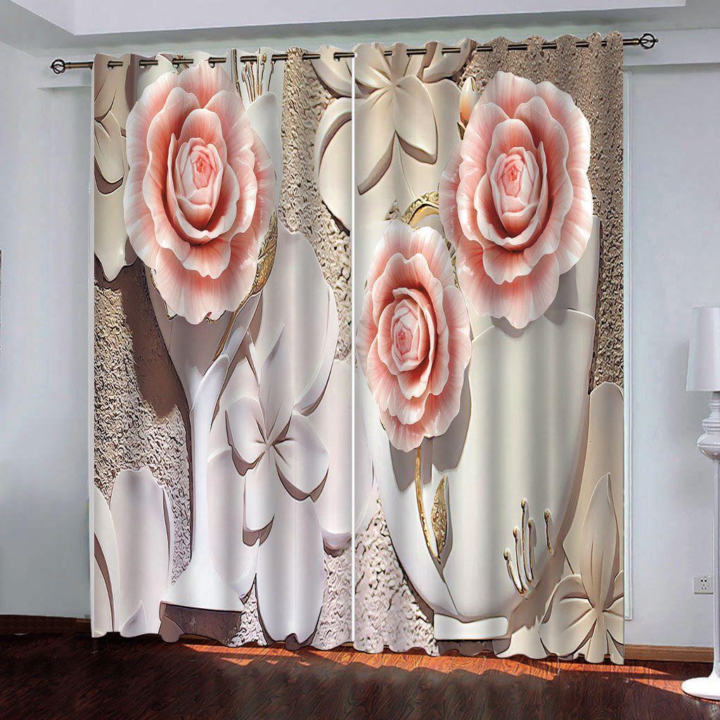 cortinas opacas encargo de salón dormitorio pintado a mano de rosas frescas cortinas cortinas de la ventana 3d cortina de artículos para el hogar