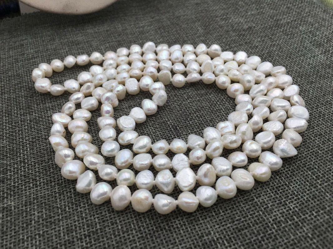 """Natural 48"""" 8-9mm blanco barroco collar de perlas de agua dulce rQFJ #"""