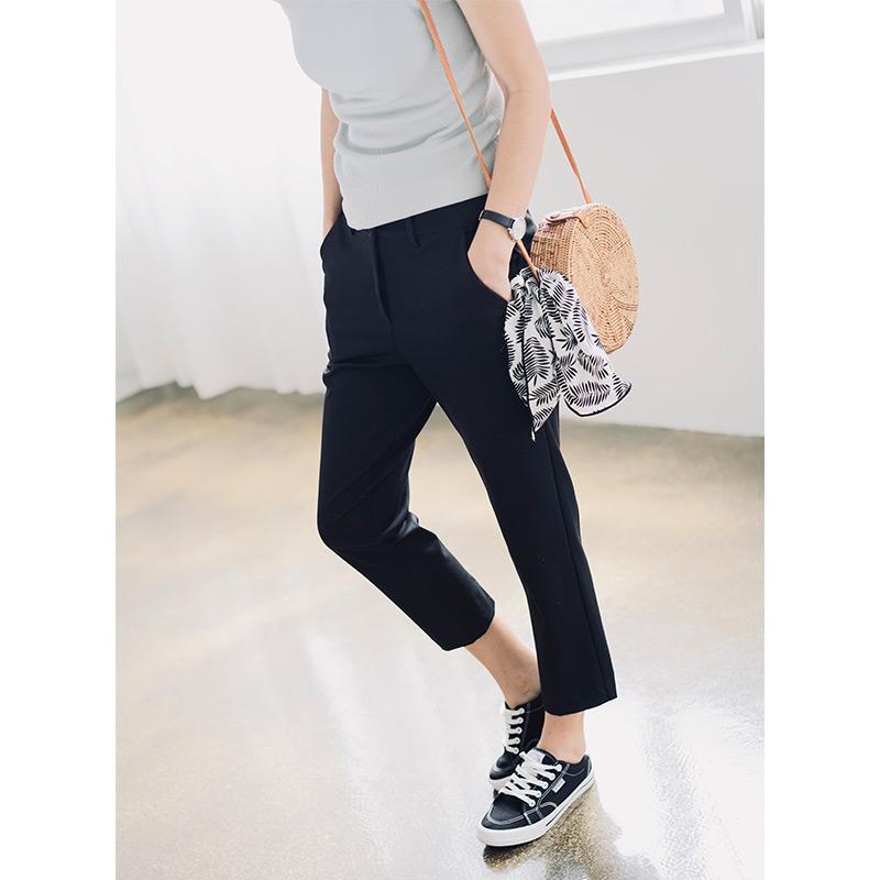 Compre 2020 Los Nuevos Pantalones Los Pantalones De Tubo Para Mujer Pantalon A Mitad De Womens Rectas Traje De Pantalones Que Adelgazan De Las Mujeres Negras Recortada Mujeres Ocasionales A 76 82
