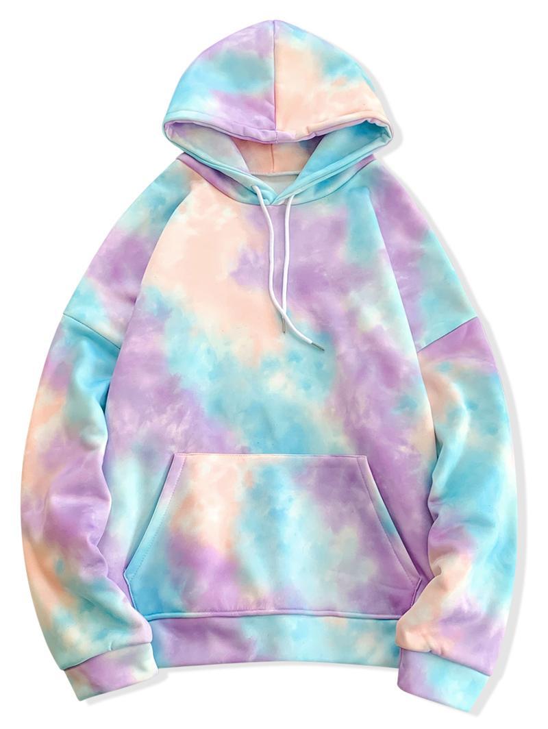 Mens Hip Hop Hoodies Sweatshirts Taschen Abbindebatik PulloverHoodies Korea-Art-Maxi-Pullover Männer Street