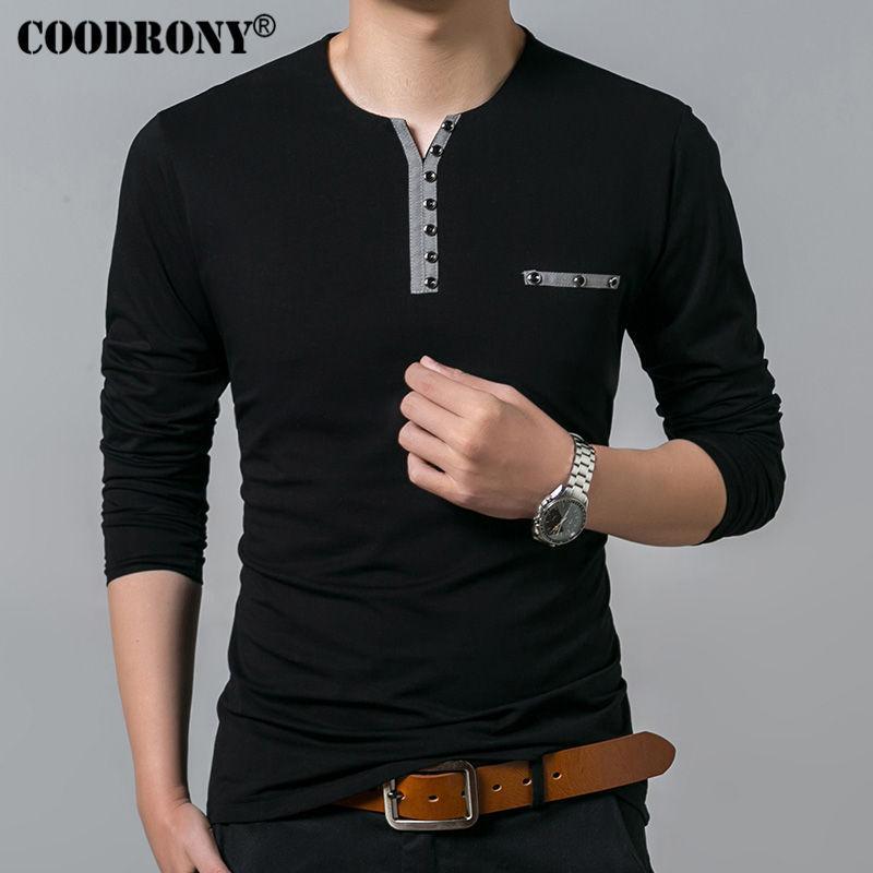 COODRONY camiseta de algodón de los hombres 2019 otoño del resorte de Nueva manga larga camiseta de los hombres de Henry Cuello Camiseta de los hombres de moda las tapas ocasionales de 7617