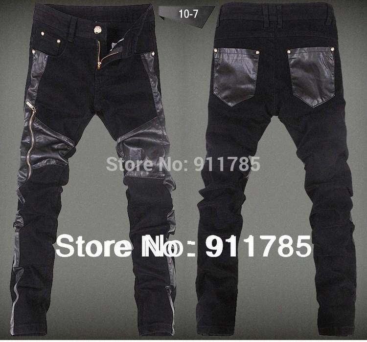 Wholesale-2014 new fashionable washed skinnySpliced leather pants men, casual slim fit mens feet Stitching leather pants,28-36 N6a4#