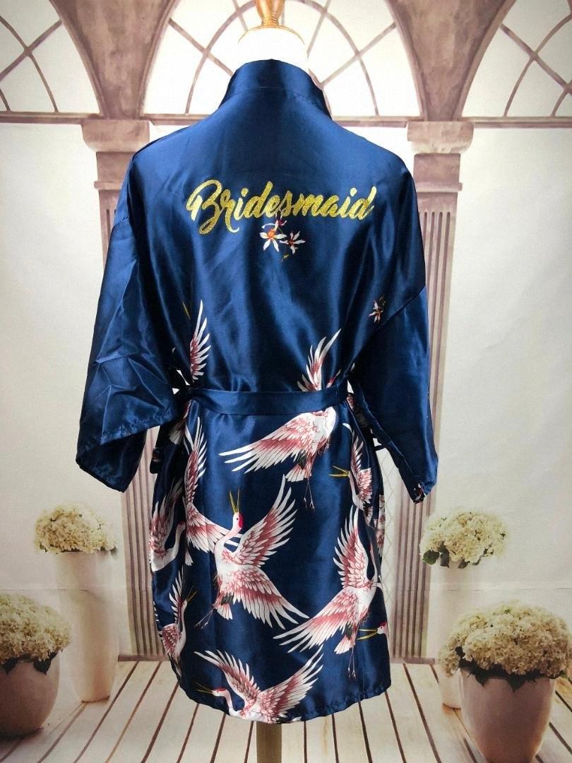 Kadınlar UPJT için # R18 Seksi Saten Çiçek Trim Kimono Gelin Elbiseler Altın Glitter Gelin nedime kıyafeti Gecelik elbisesi Parti pijamalar