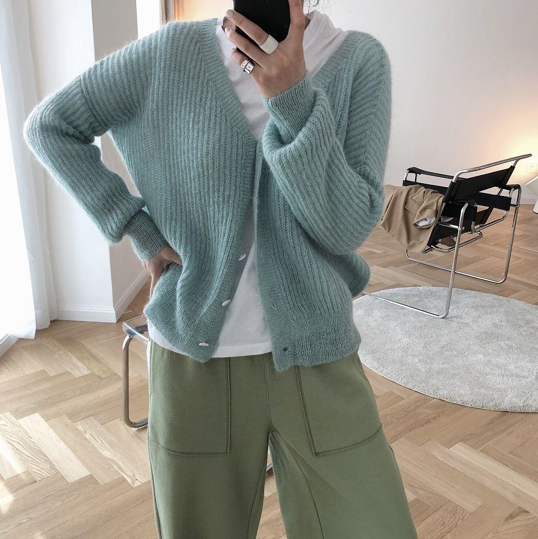 pnnDk Lufu Herbst neue koreanische bequeme Jacke Mohair Kragen lose faule Strickjacke Pullover Allgleiches gestrickten Jacke weich Frauen