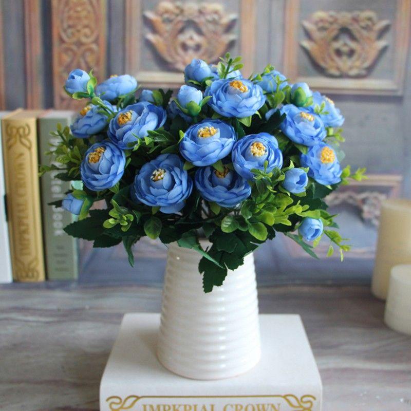 1 Falsos Ramos de flores de seda calientes Peony floral vivo 6 Ramas otoño flores artificiales de la fiesta en casa decoración de la boda Una