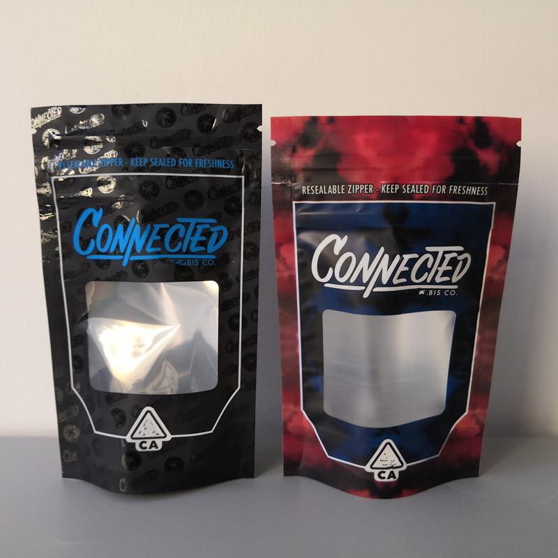 Новые стили СВЯЗАННЫХ California SF восьмая 3.5g Чужие Labs Майларовой восковые Сумки 420 Упаковки Connected печенья сумки размера 3.5G-1 8 Сумки