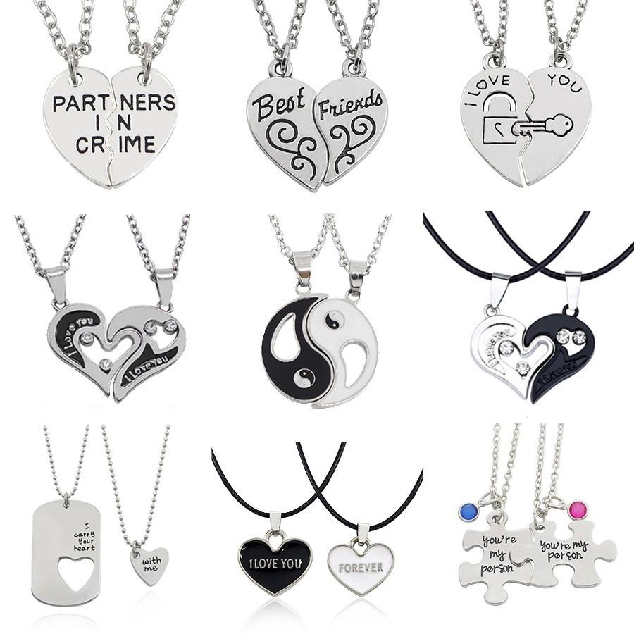 Usted mejores amigos Pareja Amo el collar de la joyería Puzzle BFF Key Lock Tai Chi colgantes del corazón collares para las mujeres de los hombres Collier regalo