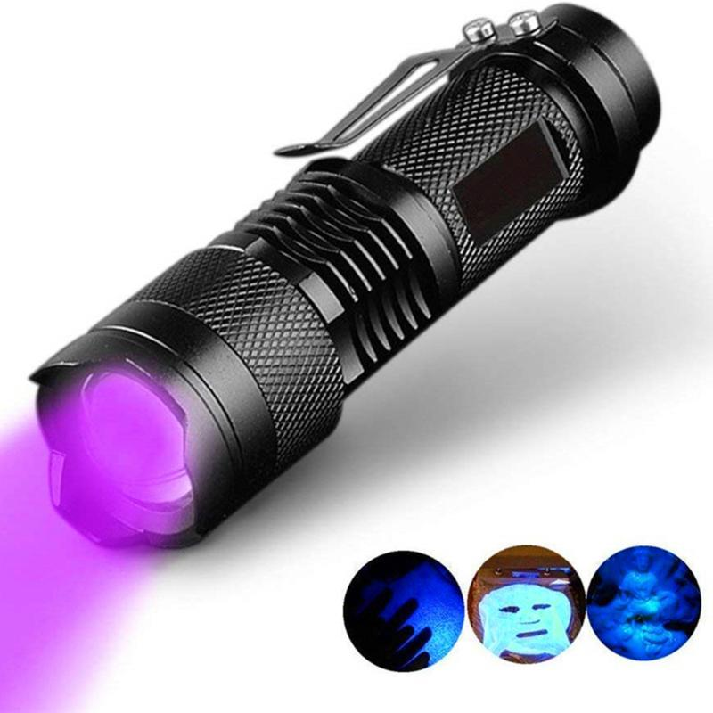 Função LED UV Ultraviolet Torch Com Zoom Mini UV Black Light Pet Urine Stains Detector Scorpion Hunting Tochas