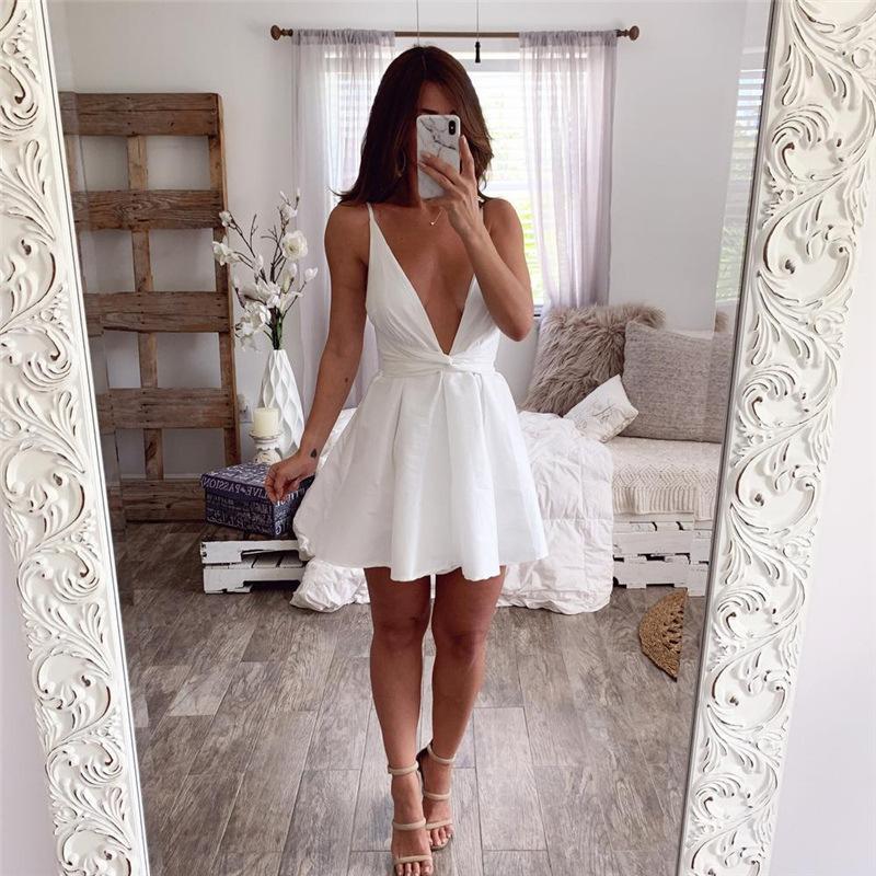 Sommerkleider Ärmelloses elegantes Kleid Sexy Kleider Party Nachtclub Minikleid V-Ausschnitt Tauchen Sommerkleid Pplbk