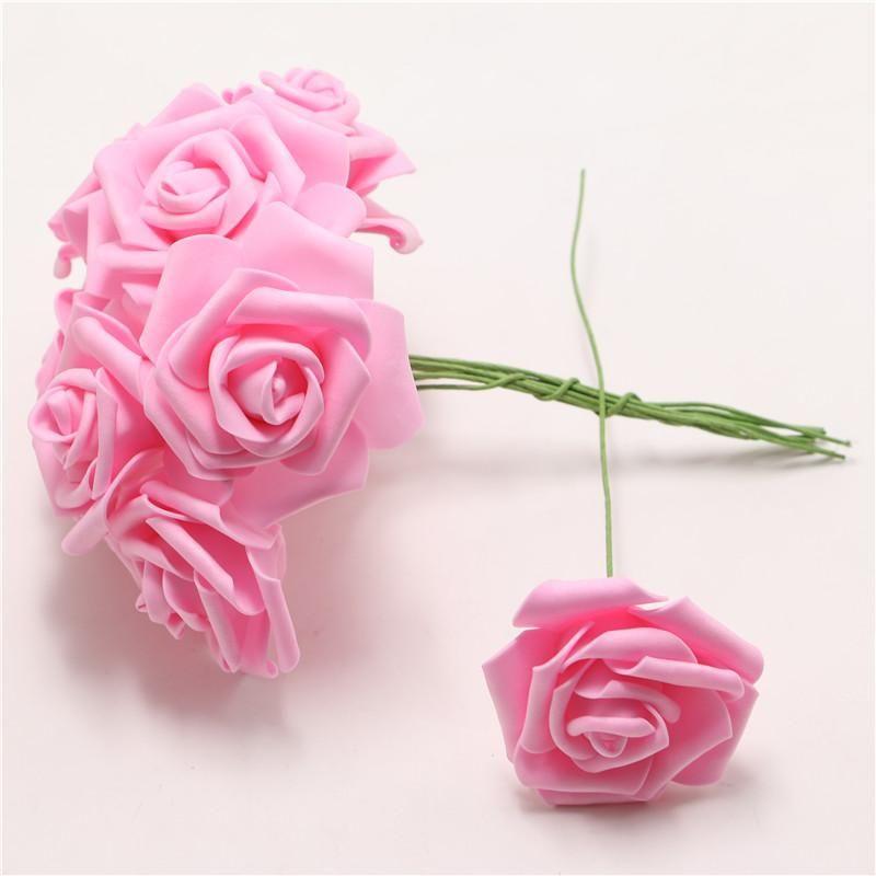 100pcs / lot 6 centímetros Artificial espuma Rose Flores com planta Falso Stem Início da festa de casamento Bouquet Artesanato Decor DIY friso ramo da flor