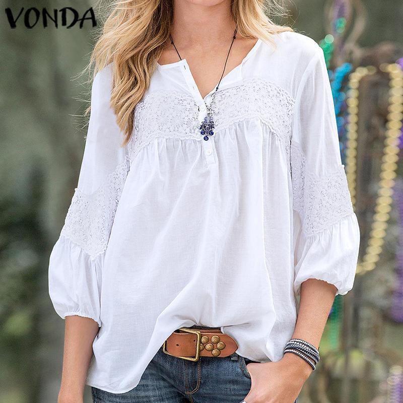 VONDA manera de las mujeres blusas 2020 de la túnica floja ocasional de la playa de Bohemia Tops blanco atractivo camisas 2020 Summer Party Tops más el tamaño Blusa Y200622