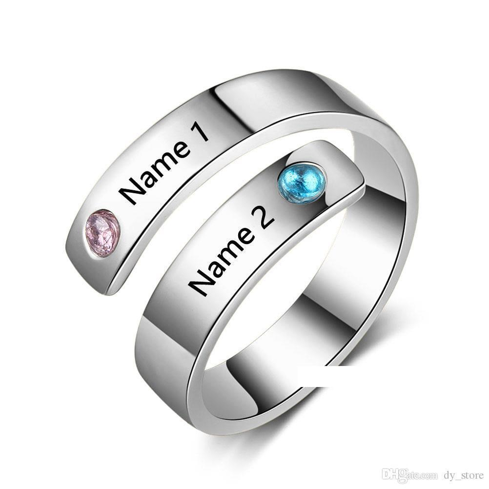 It is just a picture of Personalized Custom Name Rings For Women Engagement Couples Wedding Bridal Jewelry BFF Bridesmaid Ring Gifts With 48k Gold Plated Diamond Wedding