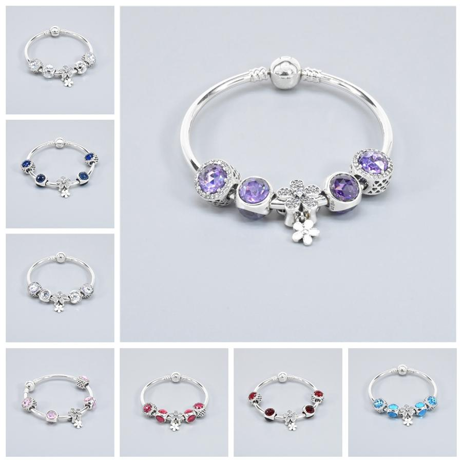 Classique Femmes Coffret Cadeau Bleu Bracelet en perles 8 couleurs Mode Femme Bracelet en perles de cristal élégant strass perles Bracelets DH1074-1 T03