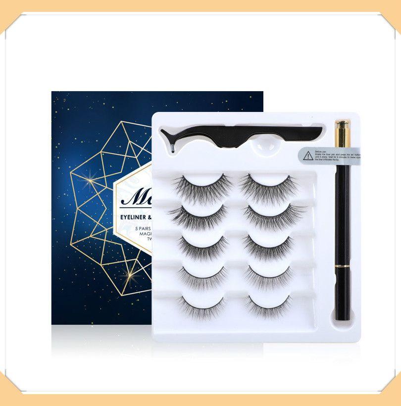 3D False Eyelashes Liquid Eyeliner and Tweezers Kit No Glue Non Magnetic 5 Pairs faux Eyelash Natural Reusable lashes Sticky Eyeliner
