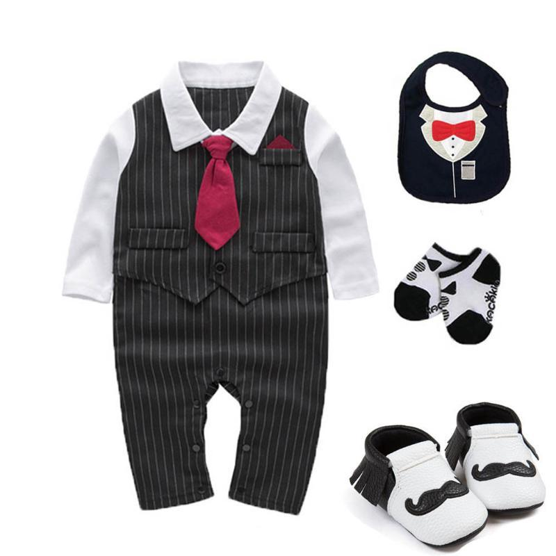 Giyim Setleri Çocuklar Bebek Erkek Giysileri Düğün Doğum Günü Smokin Pamuk Yanlış İki Bodysuit Vaftiz Elbise Kıyafetler Po Sahne